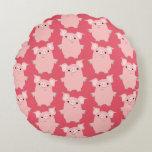 Cute Inquisitive Cartoon Pigs Round Pillow
