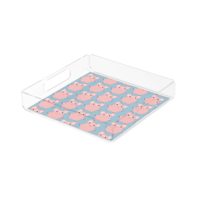 Cute Inquisitive Cartoon Pigs Serving Tray Square Serving Trays