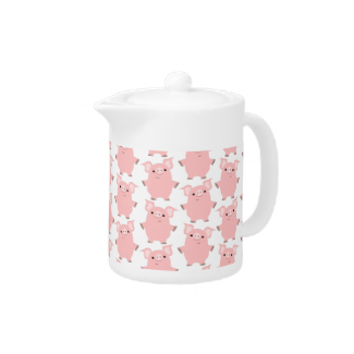 Cute Inquisitive Cartoon Pigs Teapot