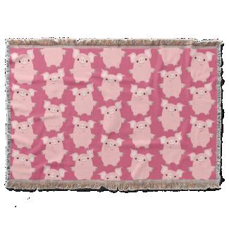 Cute Inquisitive Cartoon Pigs Throw Blanket