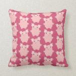 Cute Inquisitive Cartoon Pigs Throw Pillow