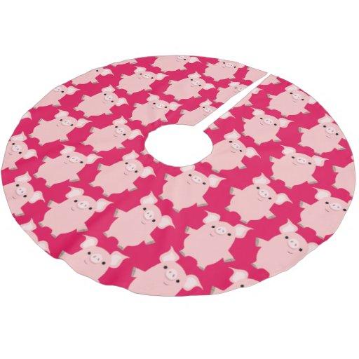 Cute inquisitive cartoon pigs tree skirt zazzle