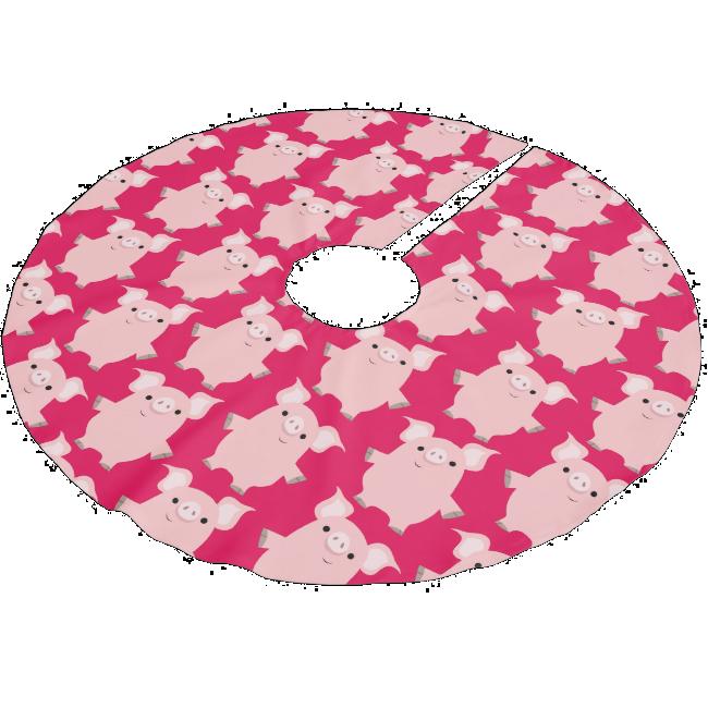 Cute Inquisitive Cartoon Pigs Tree Skirt