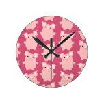 Cute Inquisitive Cartoon Pigs Wall Clock