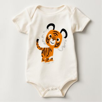 Cute Inquisitive Cartoon Tiger Baby Apparel shirt