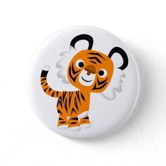 Cute Inquisitive Cartoon Tiger Button Badge button