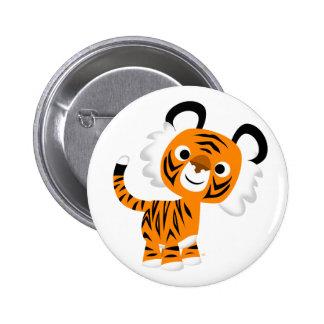Cute Inquisitive Cartoon Tiger Button Badge