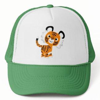 Cute Inquisitive Cartoon Tiger Hat hat