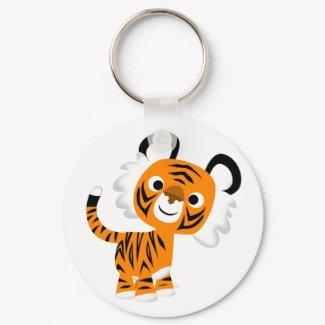 Cute Inquisitive Cartoon Tiger Keychain keychain