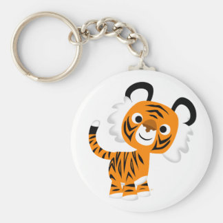 Cute Inquisitive Cartoon Tiger Keychain