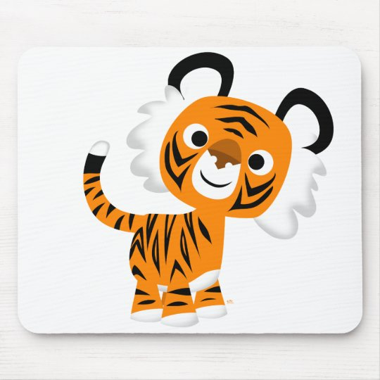 Cute Inquisitive Cartoon Tiger Mousepad