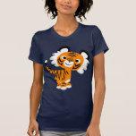 Cute Inquisitive Cartoon Tiger Women T-Shirt
