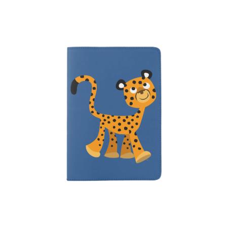 Cute Insouciant Cartoon Cheetah Passport Cover Passport Holder