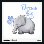 """Cute Inspirational Dream Big Elephant Nursery Wall Sticker<br><div class=""""desc"""">Decorate your baby nursery or kid&#39;s room with this adorable inspirational heart balloon elephant wall decal. It encourages your loved little one to dream big,  or customize the text to your liking. An original design available exclusively at &#169;EleSil online store.</div>"""