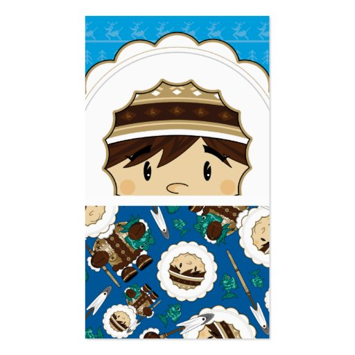 Cute Inuit Fisherman Bookmark Double-Sided Standard Business Cards (Pack Of 100)