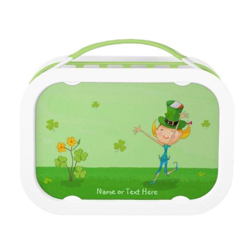 Cute Irish Girl Leprechaun Hat amp Shamrock Clovers Lunchbox
