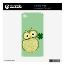 Cute Irish owl with Shamrock iPhone 4S Decal