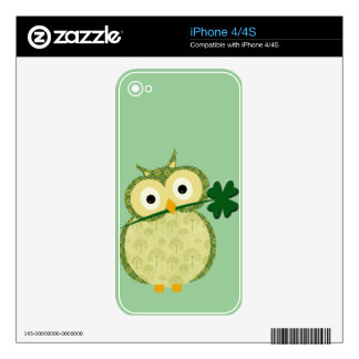 Cute Irish owl with Shamrock Skin For iPhone 4