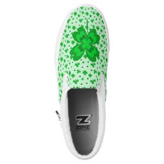 Cute Irish Shamrocks Lucky Clover Monogram Name Slip-On Sneakers