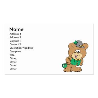 cute irish st paddy boy teddy bear lad design business card templates
