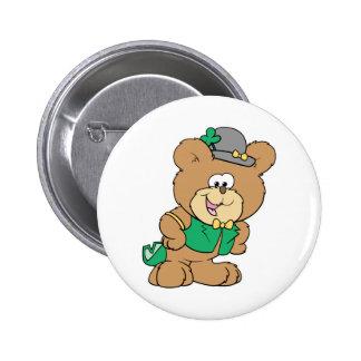 cute irish st paddy boy teddy bear lad design button
