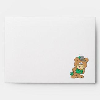 cute irish st paddy boy teddy bear lad design envelopes