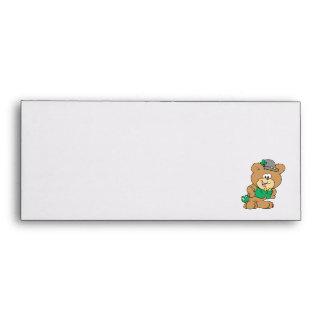 cute irish st paddy boy teddy bear lad design envelope