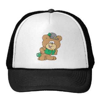 cute irish st paddy boy teddy bear lad design trucker hats