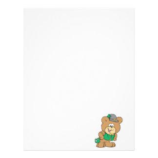 cute irish st paddy boy teddy bear lad design customized letterhead