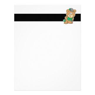 cute irish st paddy boy teddy bear lad design personalized letterhead
