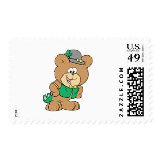 cute irish st paddy boy teddy bear lad design postage stamps
