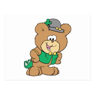 cute irish st paddy boy teddy bear lad design post cards