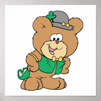 cute irish st paddy boy teddy bear lad design posters
