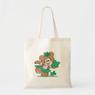 cute irish st paddy girl teddy bear design budget tote bag