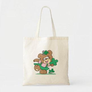 cute irish st paddy girl teddy bear design tote bag