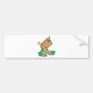 cute irish st paddy teddy bear playing irish horn bumper stickers