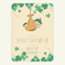 Cute Irish Themed Shamrock Baby Shower Invitation