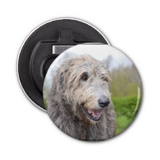 Cute Irish Wolfhound Button Bottle Opener