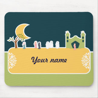 Cute Islamic Children Mosque Cartoon Muslim Name Mouse Pad