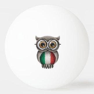 Cute Italian Flag Owl Wearing Glasses Ping-Pong Ball