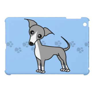 Cute Italian Greyhound Cartoon  - Pawprint Blue Cover For The iPad Mini