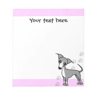 Cute Italian Greyhound Cartoon  - Pawprint Pink Notepad