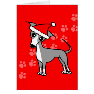 Cute Italian Greyhound Cartoon Red Santa Hat Card