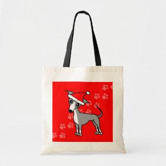 Cute Italian Greyhound Cartoon Santa Hat Budget Tote Bag
