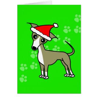 Cute Italian Greyhound Cartoon Santa Hat Greeting Card