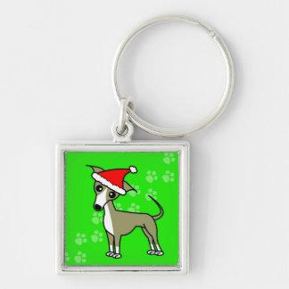 Cute Italian Greyhound Cartoon Santa Hat Keychain