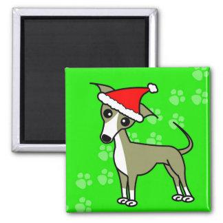 Cute Italian Greyhound Cartoon Santa Hat Magnet