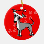 Cute Italian Greyhound Cartoon Santa Hat Ornaments