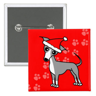 Cute Italian Greyhound Cartoon Santa Hat Pinback Button