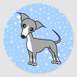Cute Italian Greyhound - Grey Classic Round Sticker